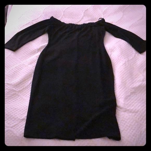 Zara Dresses & Skirts - Black Off the Shoulder Bodycon Midi Dress